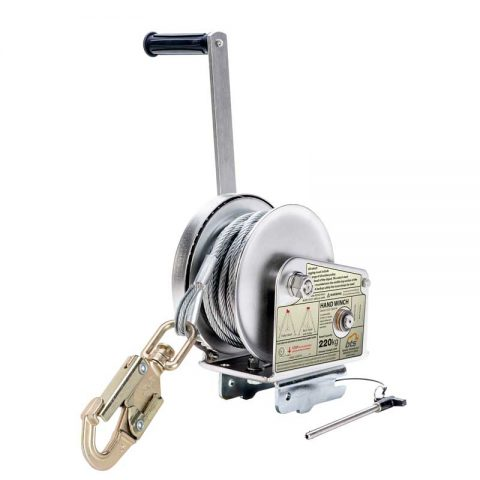 STAINLESS STEEL WINCH with Double Action Swivel Safety Hook & S/S Wire Rope