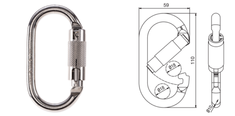 BTECH-BNS20TA Triple Action Stainless Steel Oval Karabiner