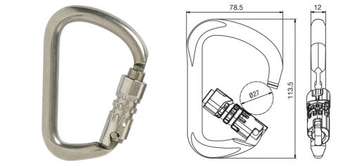 Double Action S/S Square gate Karabiner