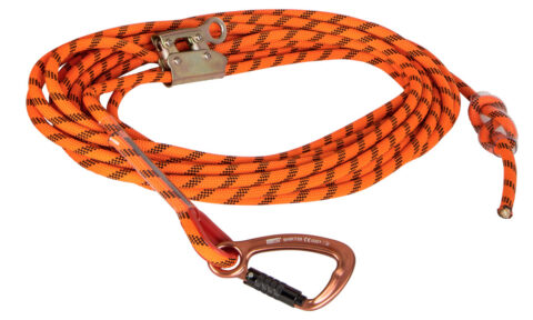 15m x 12mm Kernmantle rope with triple action hook one end and manual rope grab.