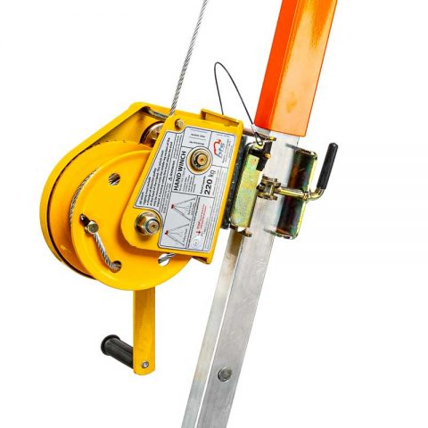 Yellow Material Winch on Tripod